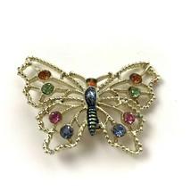 Vintage Multi Color Rhinestone Butterfly Brooch Pin Boho Woodland Spring... - $12.86
