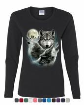 Howling Wolf Pack Women's Long Sleeve Tee Wild Wilderness Animals Nature... - $10.88+