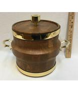 "Ice Bucket Wood Look Brass Handles Mid Century 9.5"" Tall Brown Vintage R... - $28.17"