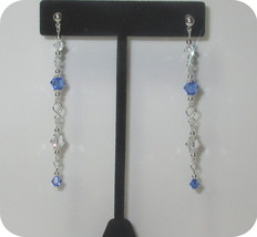 Long made w Blue & Clear Swarovski Crystals on Silver Rosary Dangle Earr... - $10.89