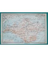 1897 BAEDEKER MAP - UNITED KINGDON Isle of Wight & Dorking Guildford Env... - $7.65