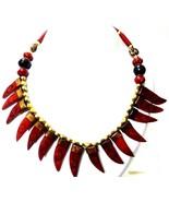 Halskette Anhänger Holzperlen Handmade Schmuck Ethnisch Boho Choker Fusi... - $13.85
