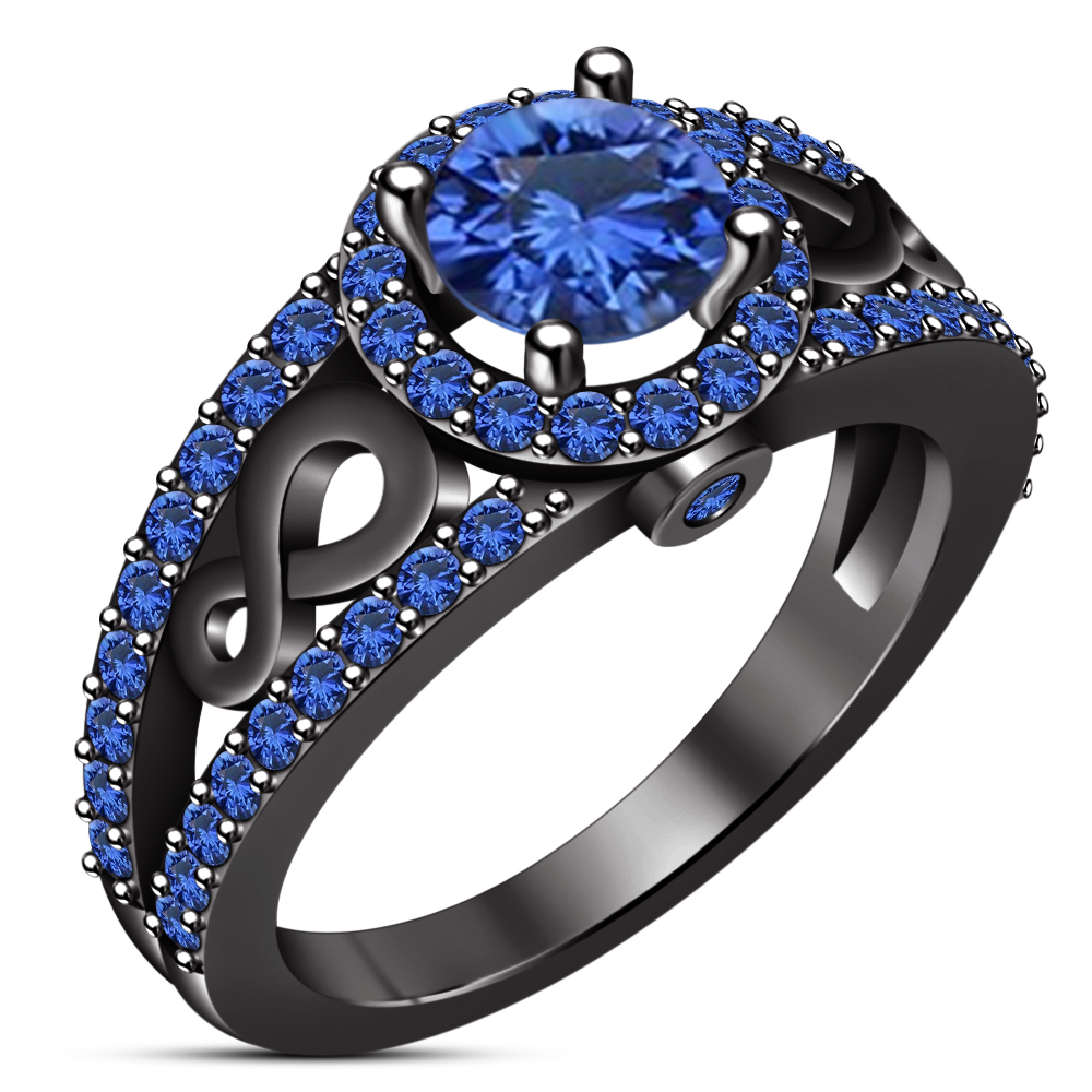 Women's Engagement Ring Round Cut Blue Sapphire 10k Black Gold Plated 925 Silver