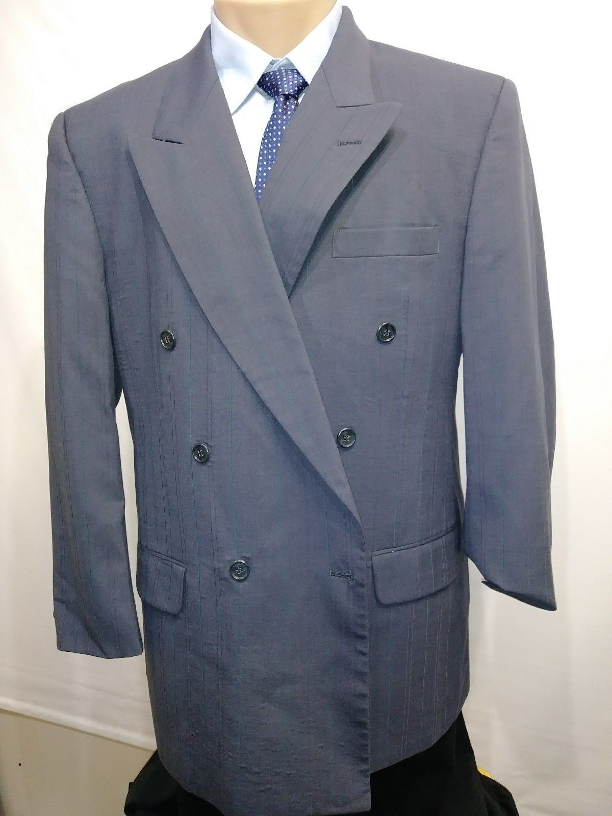 PETROCELLI MENS SPORTS COAT PINSTRIPE 100% WOOL BLU DOUBLE BREASTED 42R RN39566