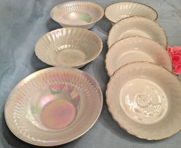 7 WHITE MILK GLASS SERVING BOWLS: FEDERAL PEARL, ANCHOR HOCKING, STEUBEN... - $25.30