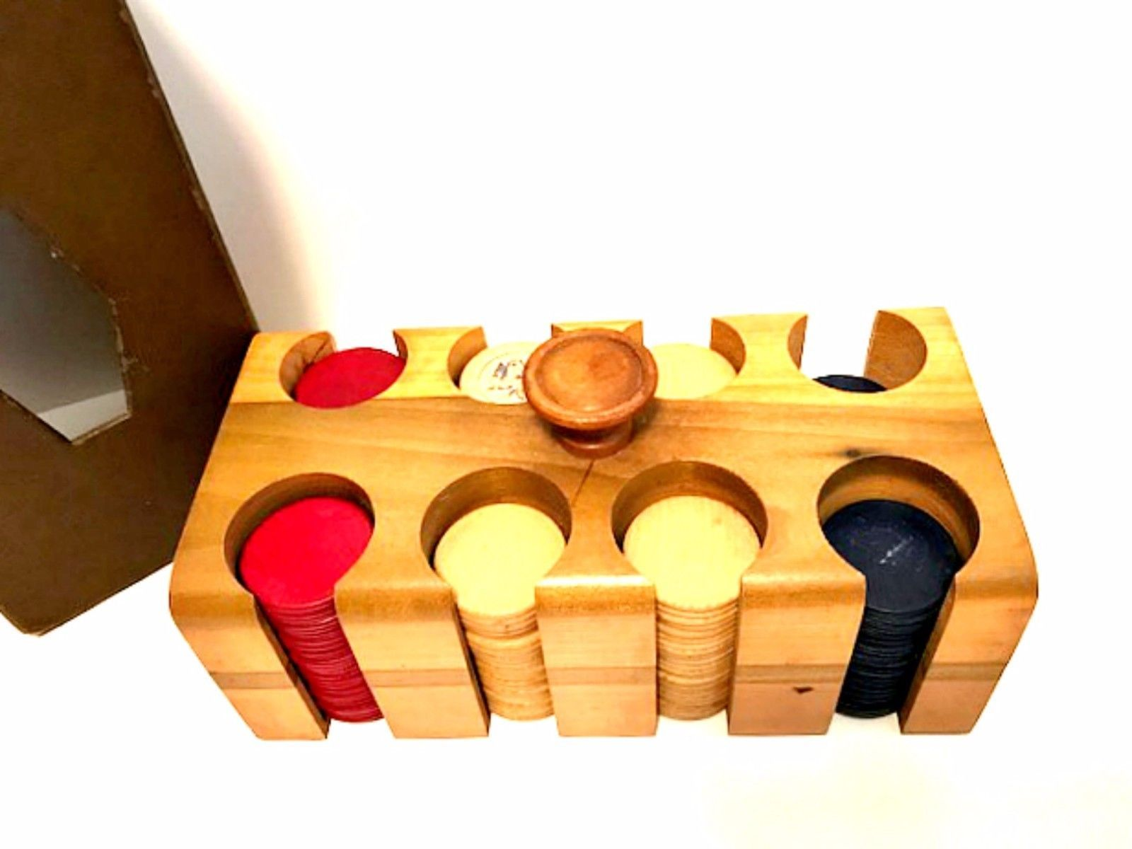 Vintage Wooden Poker Chip Caddy Rack Box Carrier with Cover 9 inches Long