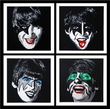 Mr Brainwash Oil Painting on Canvas Graffiti art The Beatles Kiss Tribut... - $25.73