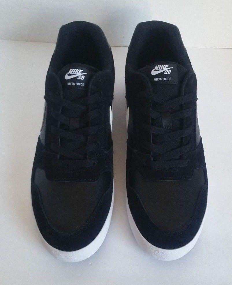 big sale ba14b be35d Nike Mens SB Delta Force Vulc Skateboard Shoes 942237-010 Black White