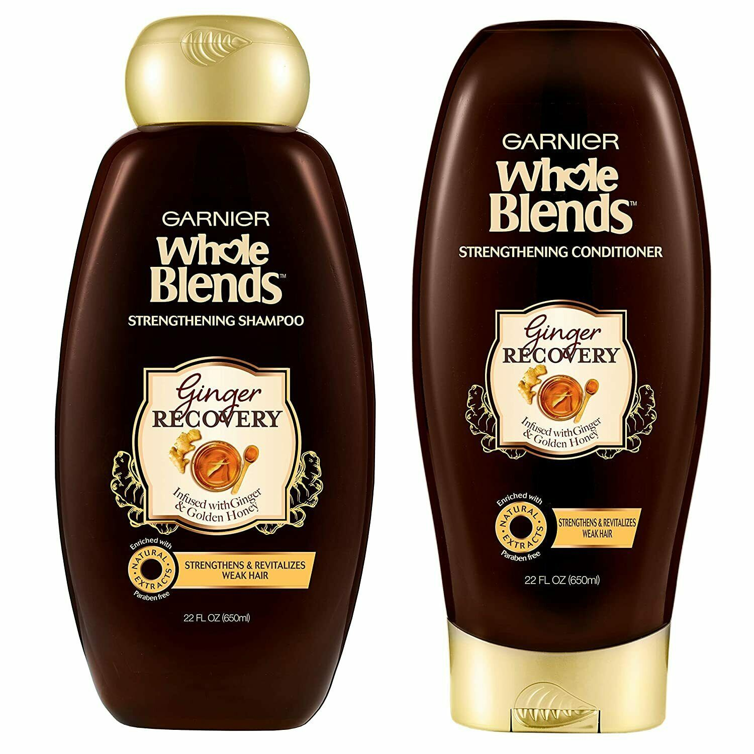 2 PACK GARNIER GINGER RECOVERY STRENGTHENING SHAMPOO AND CONDITIONER WITH GINGER - $19.80