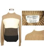 1960s Vtg Mens M Wool Oleg Cassini Sweater Tan Brown Mod Color Block Crew Neck - $19.95