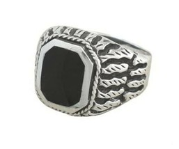 925 Sterling Silver Men's Exotic Scrollwork Black Genuine Onyx Thick Ring - $40.95