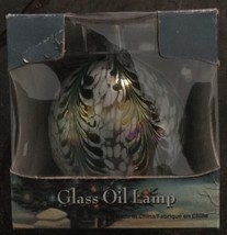 New in Box Traditions Blue Iridescent and White Hand Blown Glass Oil Lamp - $24.74