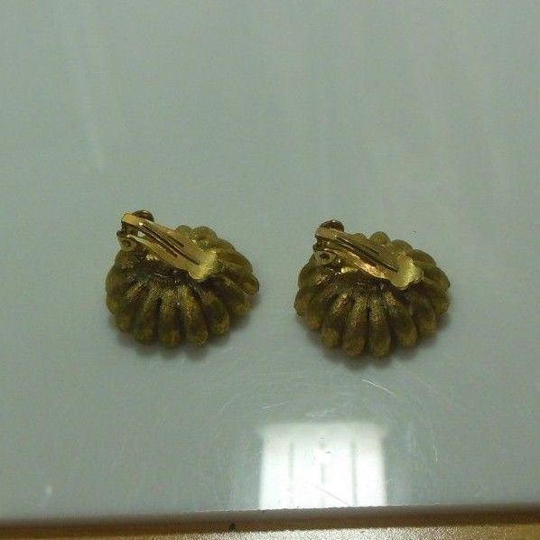 Vintage Signed Schrager Floral Rhinestone Clip-on Earrings