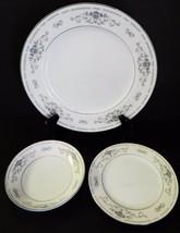 Wade Diane Fine Porcelain of Japan White Blue Flower Silver Rim 3 Piece China - $25.73