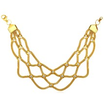 Cool Net Shaped Mesh Chain Bracelet Rhinestone 18K Gold Plated/Stainless Steel J - $32.99