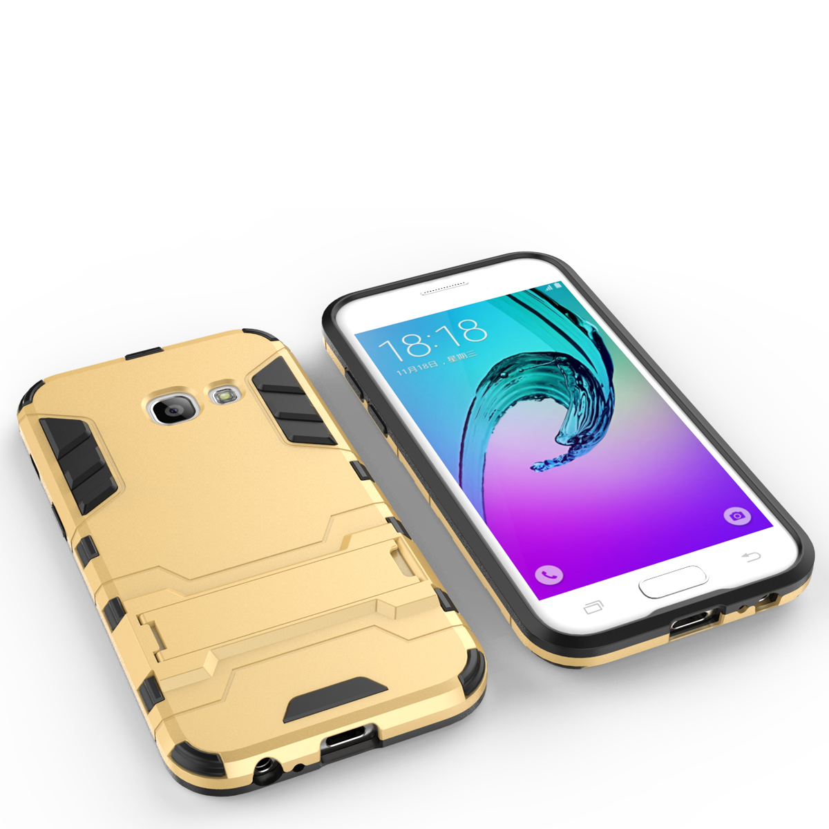 Armor Kickstand Protective Phone Cover Case for Samsung Galaxy A3 (2017) - Gold
