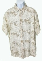 Tasso Elba Island Short Sleeve Button Down Floral Shirt Brown White XXL - $9.90