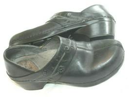 Dansko Slip On Black Leather W/ Floral Accent Clogs Shoes Size 38 Us 7.5-8 - $29.70