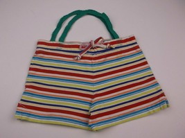 HANDMADE UPCYCLED KIDS PURSE MULTI-STRIPE SHORTS 12.5X8 IN UNIQUE ONE OF... - $7.99