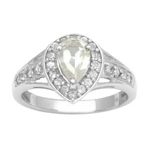 Pear Shape White Topaz Stone Solitaire Split Shank Wedding Halo Ring 925... - $18.77