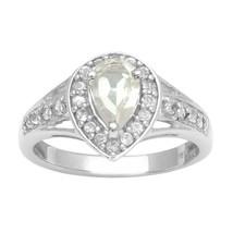Pear Shape White Topaz Stone Solitaire Split Shank Wedding Halo Ring 925... - $18.77