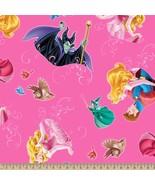 Disney Sleeping Beauty with Film Toss Fuchsia 100% cotton Fabric Remnant... - $6.30
