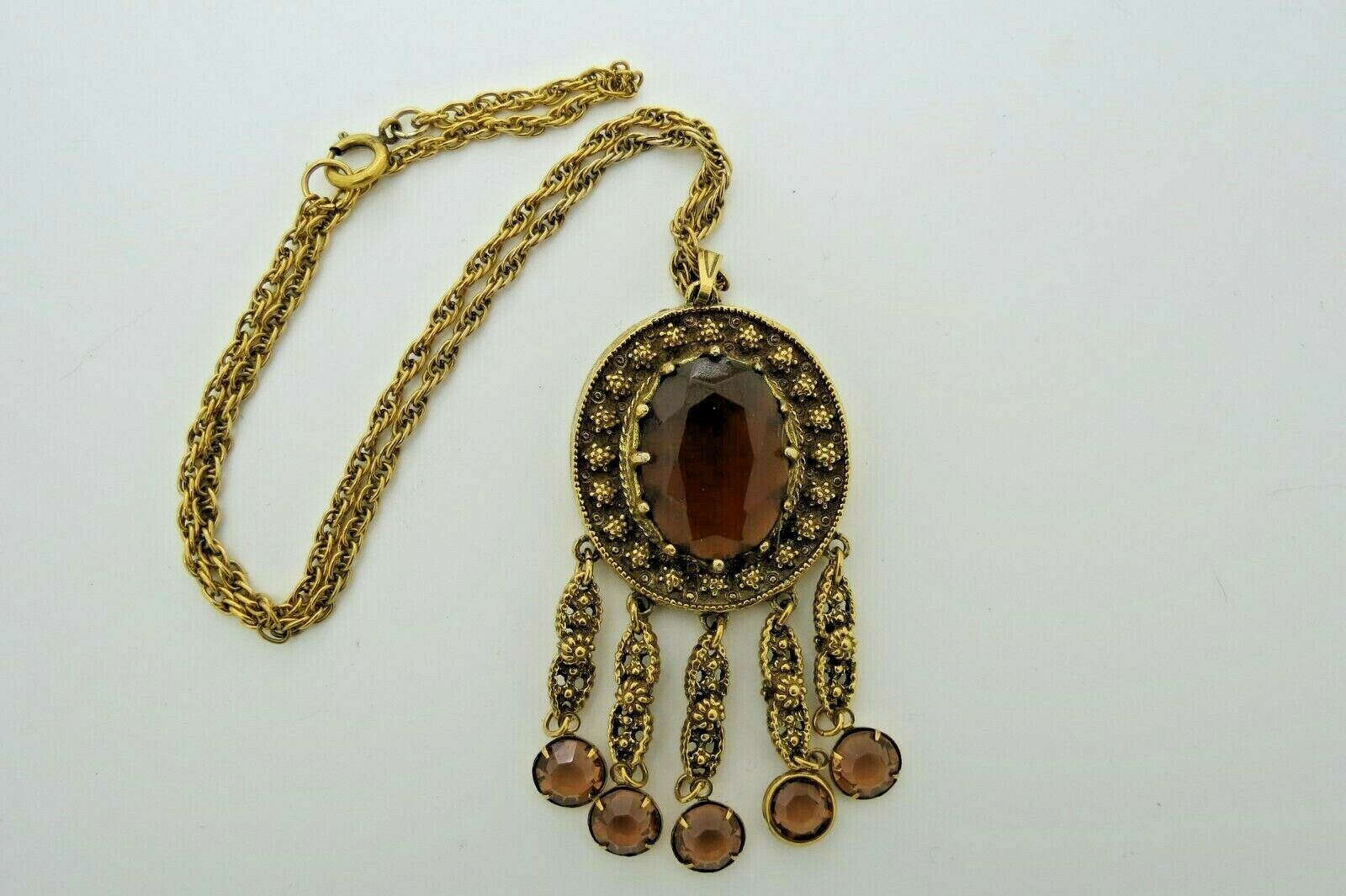 """Goldette Bezel Set Purple Glass Pendant Necklace 18"""" Chain Gold Antiqued Flowers"""