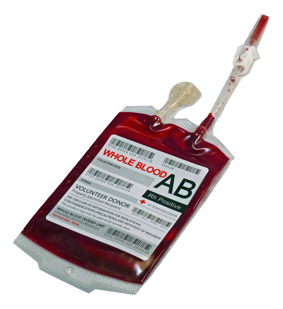 single novelty blood bag with perma blood paint