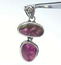 Raspberry Pink Tourmaline Stones Set In Sterling Silver Pendant W/ Scrol... - $85.00