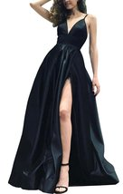 Simple Black Satin Prom Dresses Long with Slit Formal Evening Gown Party Dress - $99.00