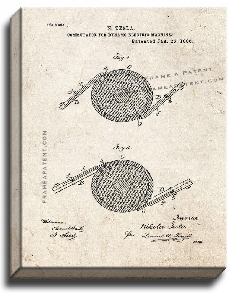 Primary image for Tesla Commutator for Dynamo-Electric Machines Patent Print Old Look on Canvas