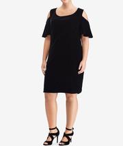 $175 Lauren Ralph Lauren Velvet Cold-Shoulder Dress Black 6 - $118.79