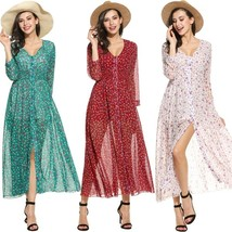 Women Long Sleeve Floral Print V Neck Tunic Slit See-through Maxi Beach ... - $38.76