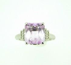 14k Gold Large 6.95ct Cushion Cut Genuine Natural Kunzite Ring w/Diamonds #J4451 - $1,200.00