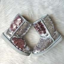 UGG Flip Sequin Boots Size 6 Women Cosmos Classic Short Silver Pink 1094982  - $116.88