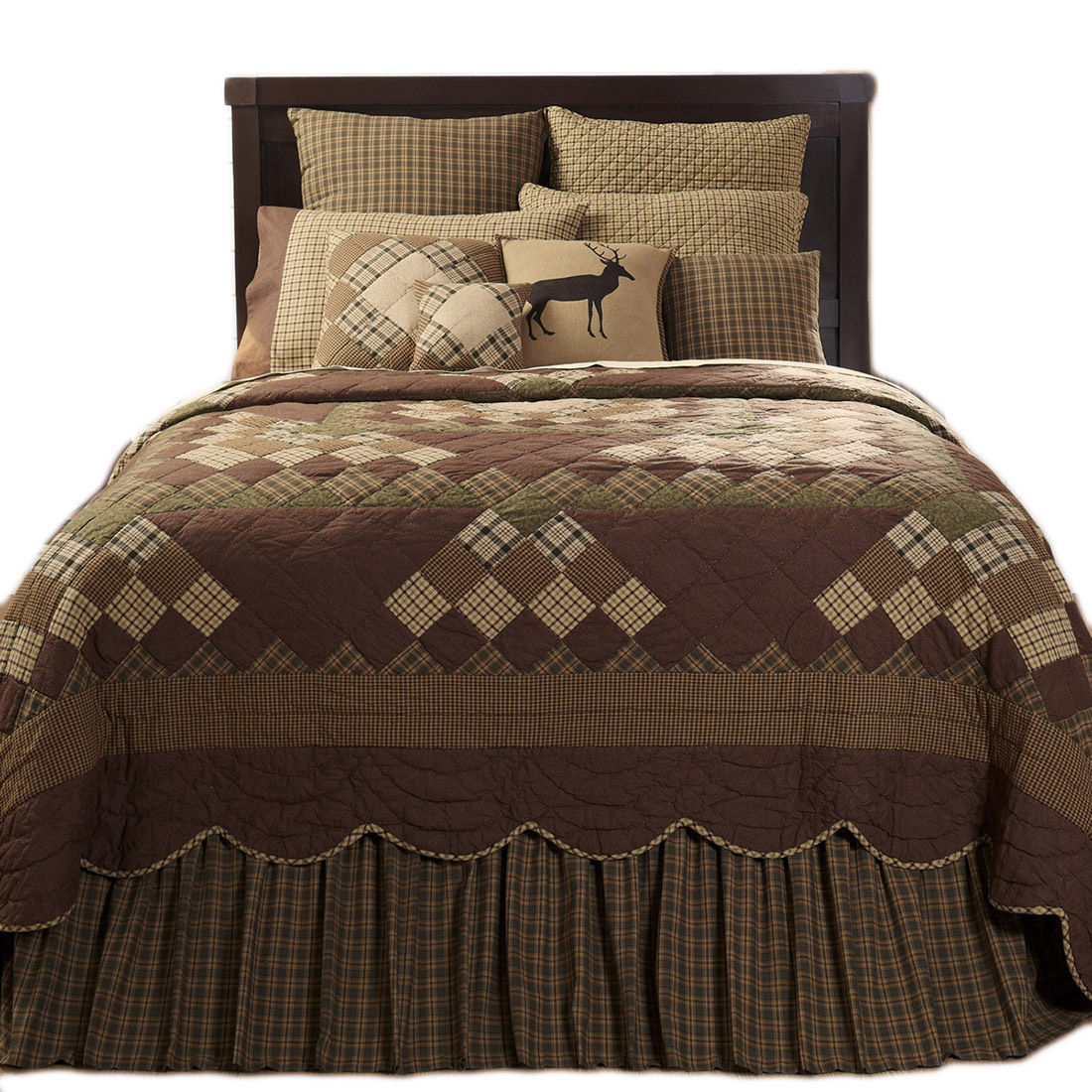 9-pc King - BARRINGTON Quilt Country Set - Scalloped Brown, Green - VHC Brand