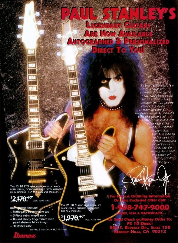 KISS Paul Stanley Ibanez LTD / Classic PS10's Stand-Up Display - Rock Music Gift