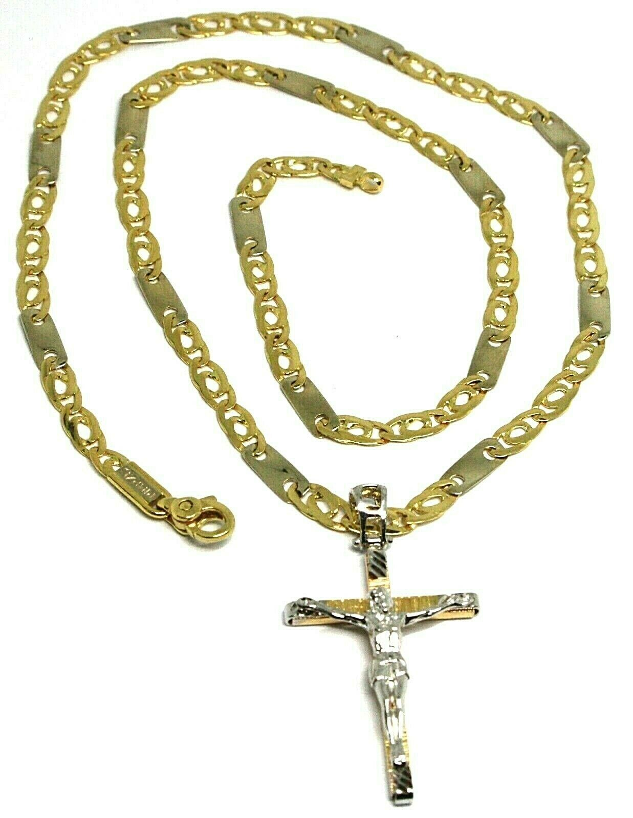 18K YELLOW WHITE GOLD FLAT ALTERNATE CHAIN, 20 INCHES & WORKED JESUS CROSS