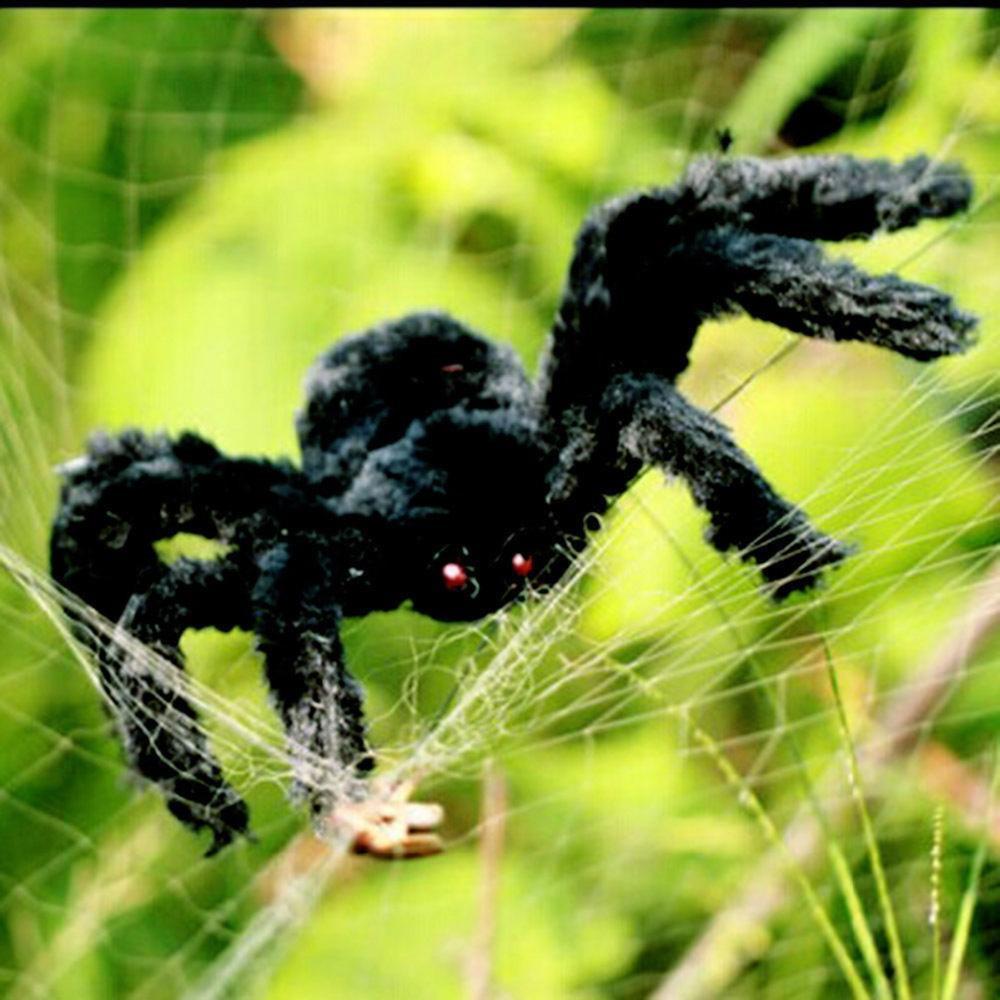 1PCs Fake Spider Prank Gift New Halloween Horrible Big Black Furry Spider Decor image 2