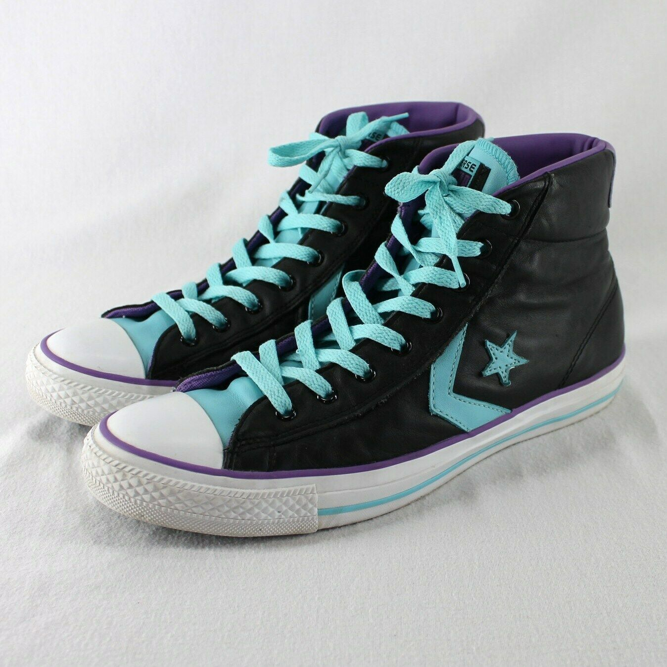 Converse All Star Leather High Top Shoes Mens 9 Womens 11 Black Blue Purple