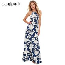 Maxi Dress Vintage Floral Print Summer Long Dress Off Shoulder Sexy Wome... - $24.00