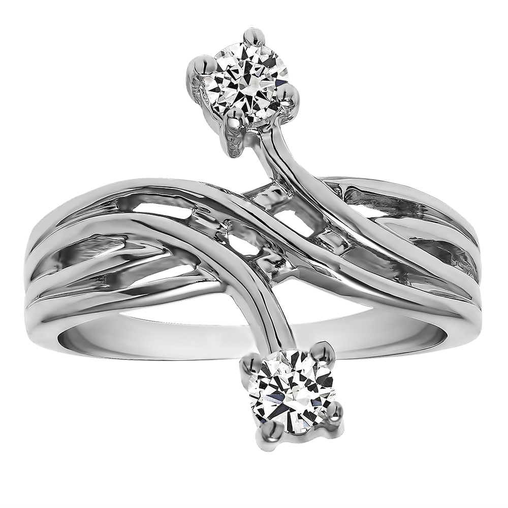 Two-Stone White Diamond Crossover Bypass Fashion Ring In Solid 925 Silver for sale  USA