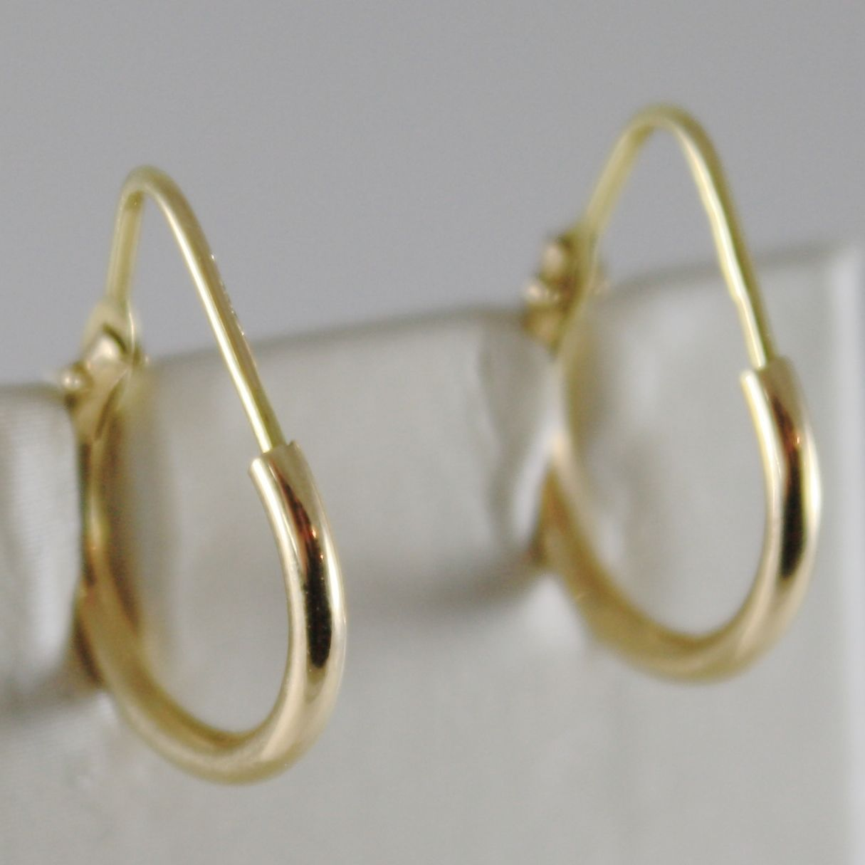 18K YELLOW GOLD EARRINGS MINI CIRCLE HOOP 14 MM 0.55 IN DIAMETER MADE IN ITALY
