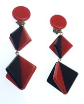 Vintage Modernist Deco Geometric Plastic Squares Dangle Drop Costume Ear... - $24.99