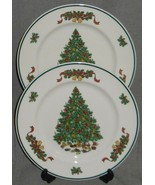 Set (2) Johnson Brothers VICTORIAN CHRISTMAS PATTERN Salad Plates ENGLAND  - $59.39