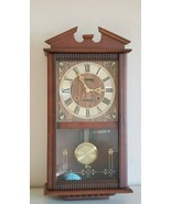 Vintage Centurion Walnut Finish Wood Wall Clock Chime 35-Day  - $60.00