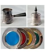 Vintage Lot Sheffield Silver Tea Coffee Set + WMA Rogers Brass Coasters ... - $30.09