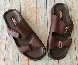 Hush Puppies Sandals Shoes 6.5 M Brown Leather Slip On Buckle Summer Footwear - $14.84