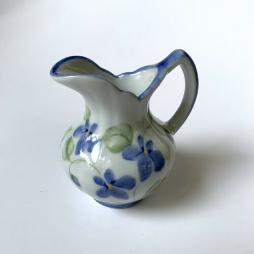Vintage Porcelain Mini Handled Water Pitcher or Vase Violet Flowers - $8.90
