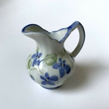 Vintage Porcelain Mini Handled Water Pitcher or Vase Violet Flowers - $8.90